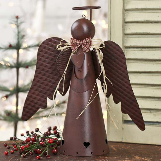 rustic tin angel tree topper trees and toppers christmas and winter holiday crafts. Black Bedroom Furniture Sets. Home Design Ideas