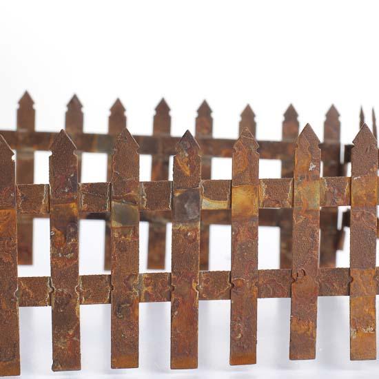 Rusty Tin Picket Fence Fairy Garden Miniatures