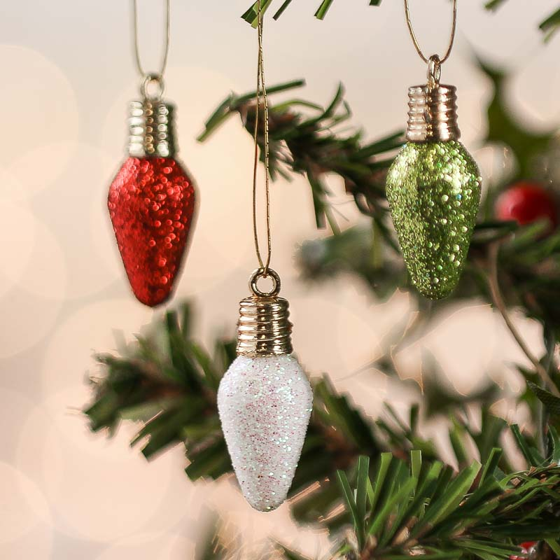Christmas Light Bulb Decorations: Miniature Glitter Light Bulb Ornaments