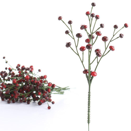 Factory Direct Craft Vinyl Twig Branch Sprays with Small Artificial Burgundy Accents 2 Sprays
