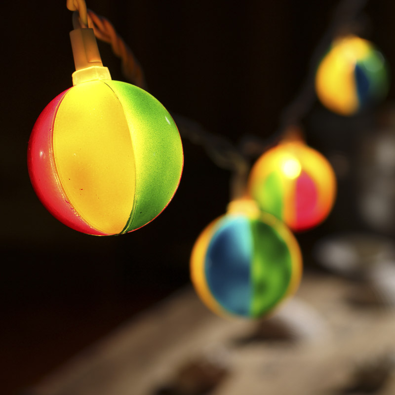 Beach Ball Globe Bulb and White Cord String Lights - Lighting - Christmas and Winter - Holiday ...