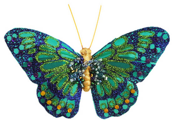 Teal And Purple Glitter Artificial Butterfly Birds