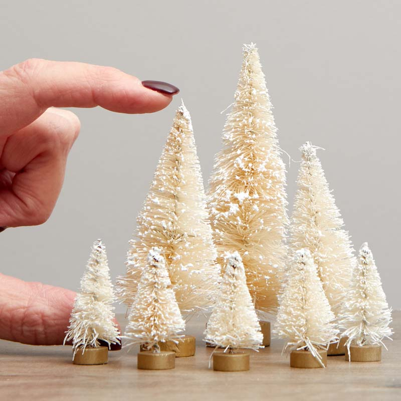 Assorted Frosted Cream Bottle Brush Trees - Christmas Miniatures ...