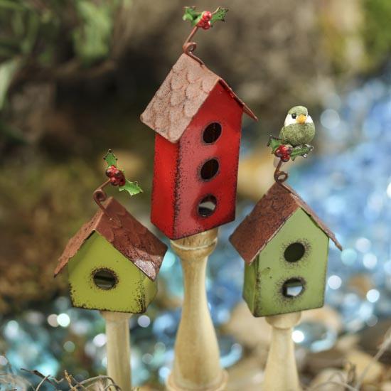 Gnome Garden: Rustic Metal Birdhouse Picks