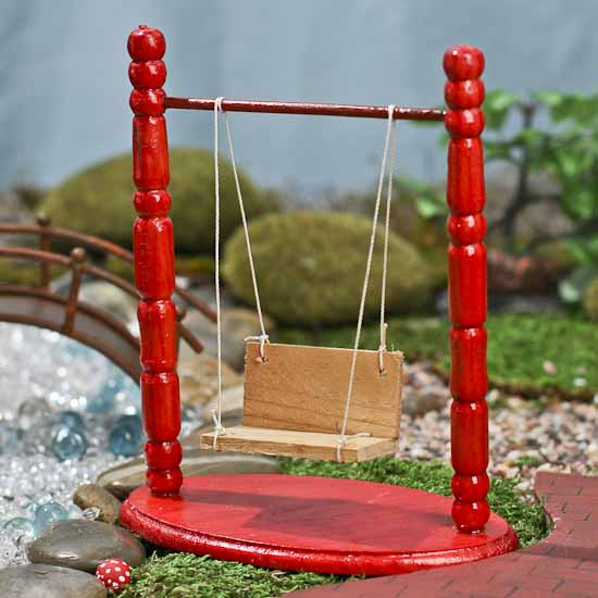 Gnome Garden: Miniature Red Two Post Swing