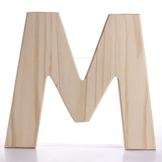 Unfinished Bold Wood Letter M Word And Cutouts