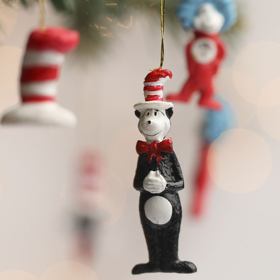 Click Here For A Larger View - Miniature Cat In The Hat Ornaments - Christmas Miniatures