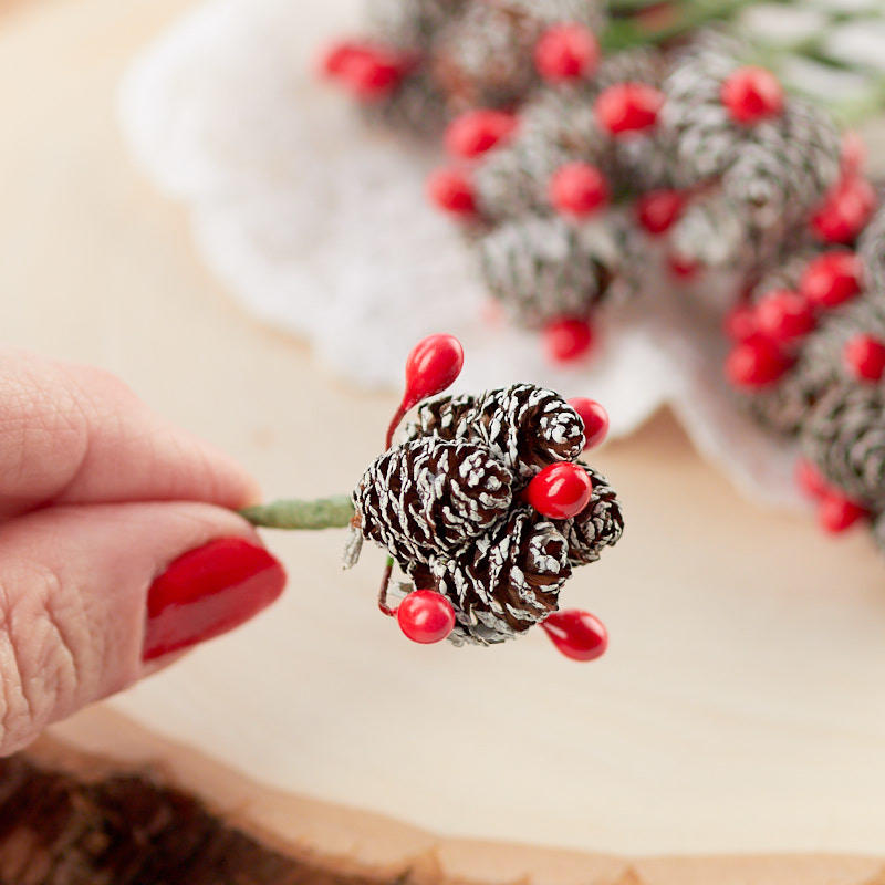 Miniature Frosted Pinecone And Berry Picks Holiday