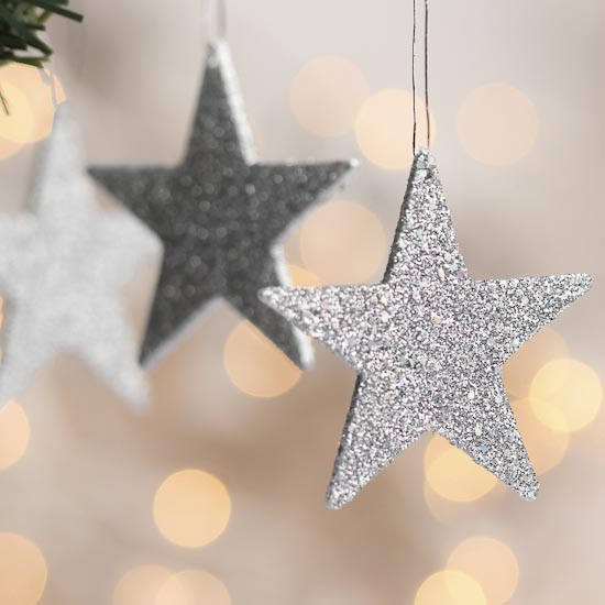 Small Silver Glitter Star Ornaments