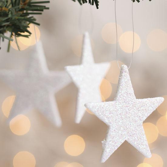 Small White Iridescent Glitter Star Ornaments