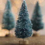 Small Frosted Green Bottle Brush Trees