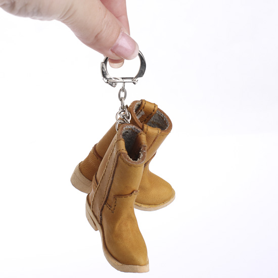 Miniature leather cowboy boots keychain doll accessories for Tiny cowboy hats for crafts