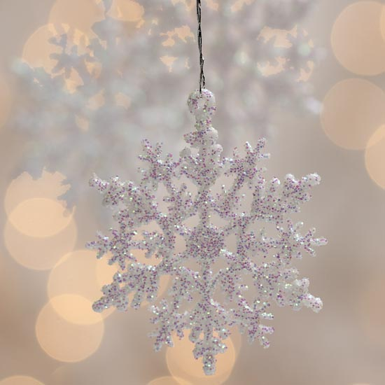White Iridescent Glitter Snowflake Ornaments Snow