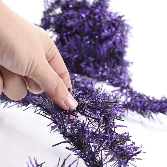Purple tinsel garland christmas garlands and