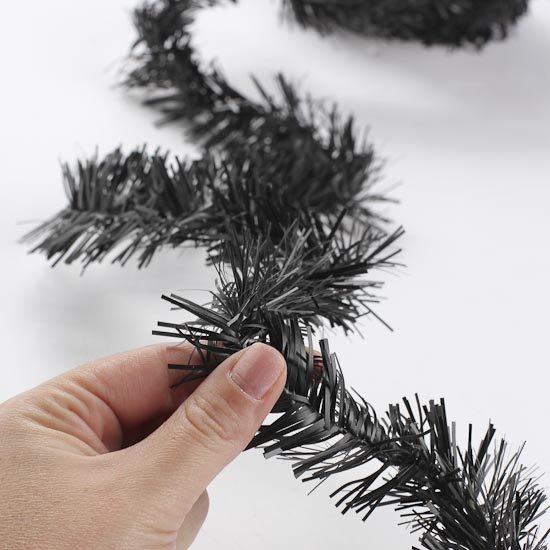 Black wired tinsel garland christmas garlands