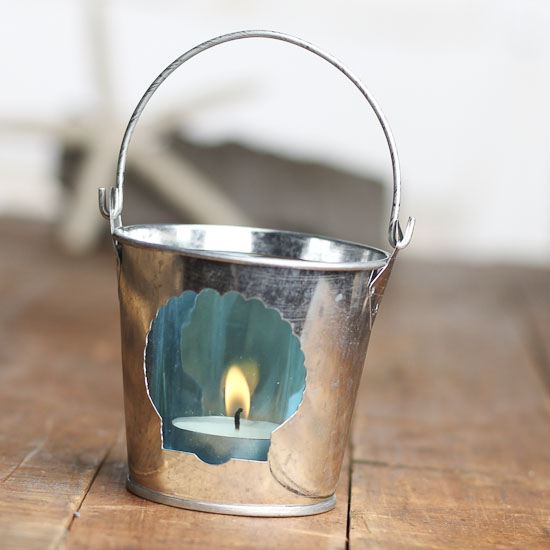 Home Decor Candle Holders And Accessories: Seashell Galvanized Metal And Glass Candle Holder Pail