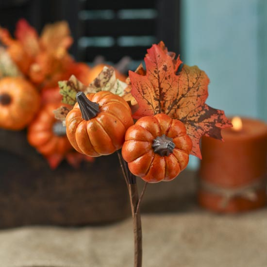 Fall artificial leaf and pumpkin pick picks and stems for Pumpkin stems for crafts
