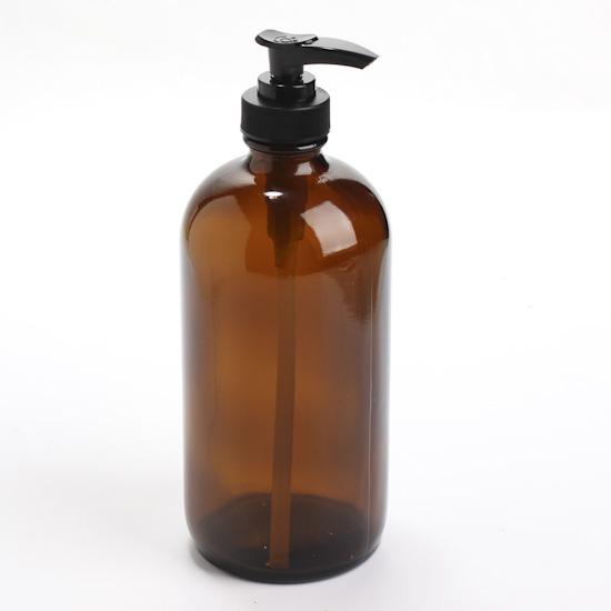 round amber glass apothecary bottle dispenser - Soap Dispenser Pumps