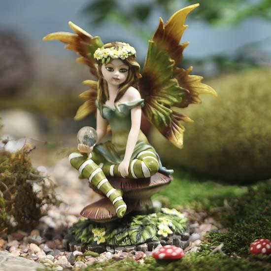 Garden Statue Fairy: Delicate Garden Fairy Figurine With Crystal Ball