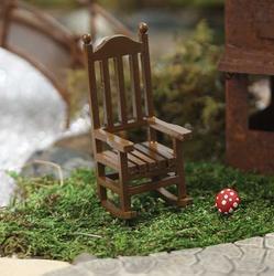 Miniature wood rocking chair fairy garden miniatures for Small wooden rocking chair for crafts