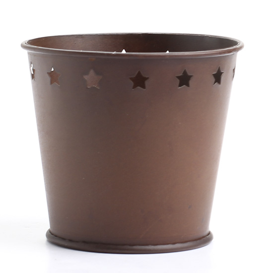 Rustic metal pail with star cutouts baskets buckets for Rustic galvanized buckets