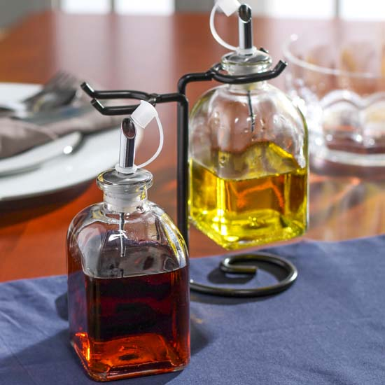 oil and vinegar cruet set with rack kitchen and bath home decor. Black Bedroom Furniture Sets. Home Design Ideas