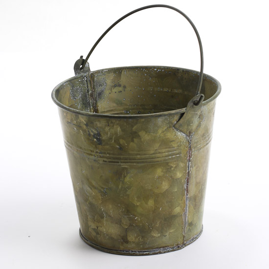 Antique gray metal bucket baskets buckets boxes for Old metal buckets