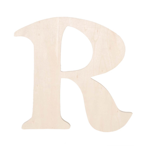 Unfinished wood fancy letter r word and letter cutouts for Darice 7 fancy wood letters