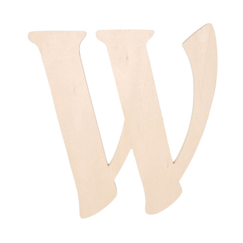 Unfinished wood fancy letter w word and letter cutouts for Darice 7 fancy wood letters