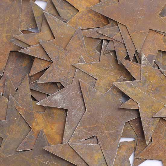 Primitive Crafts: Bulk Rusty Tin Primitive Stars