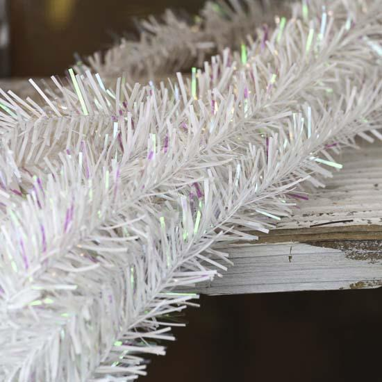 Iridescent white rope tinsel garland christmas garlands