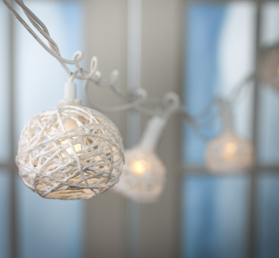 Rustic White String Ball Globe String Lights - Lighting - Christmas and Winter - Holiday Crafts