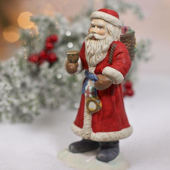 Ceramic santa figurines set of christmas and winter