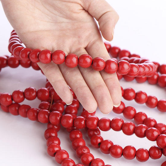 scarlet red bead garland christmas garlands christmas and winter holiday crafts - Christmas Bead Garland