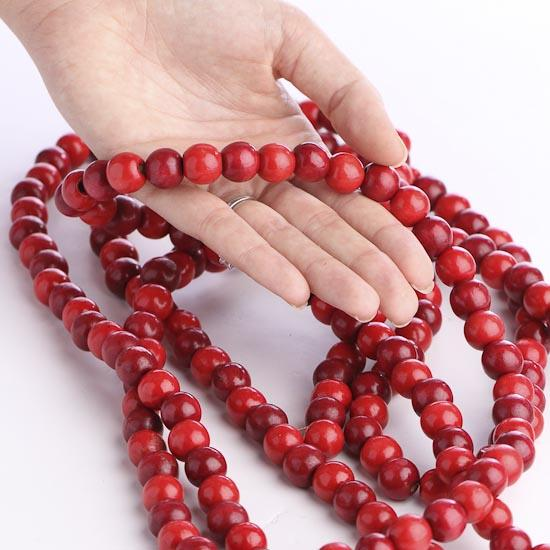 Burgundy And Cranberry Red Wooden Bead Garland Christmas
