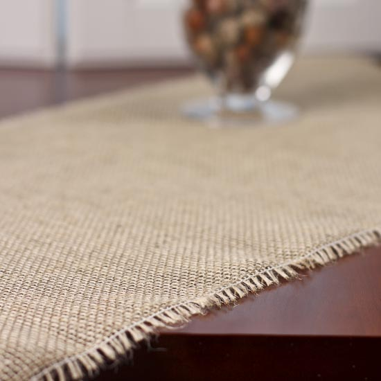Fringed Edge Burlap Table Runner - Textiles and Linens - Home Decor