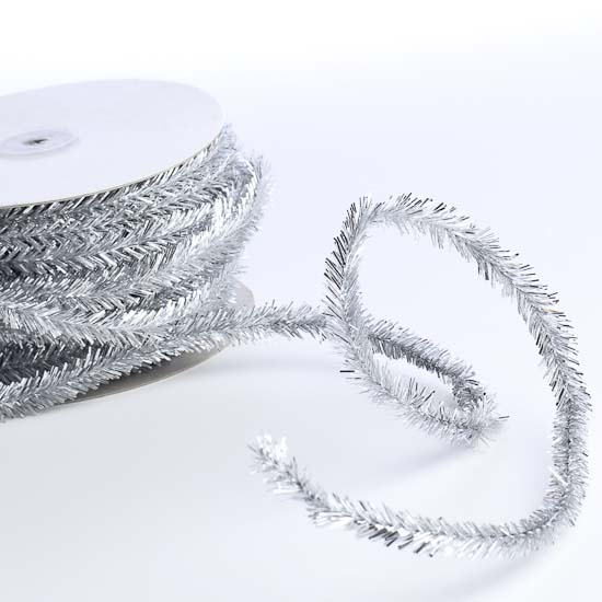 Silver tinsel garland christmas and winter sale sales