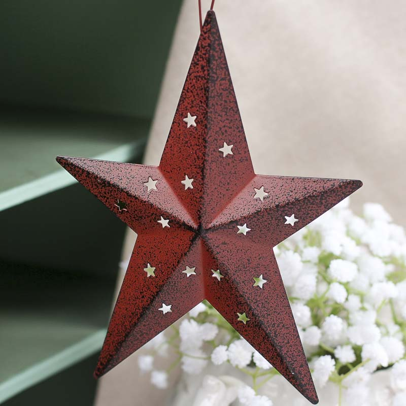 Barn Red Tin Dimensional Barn Star - Americana - Primitive ...