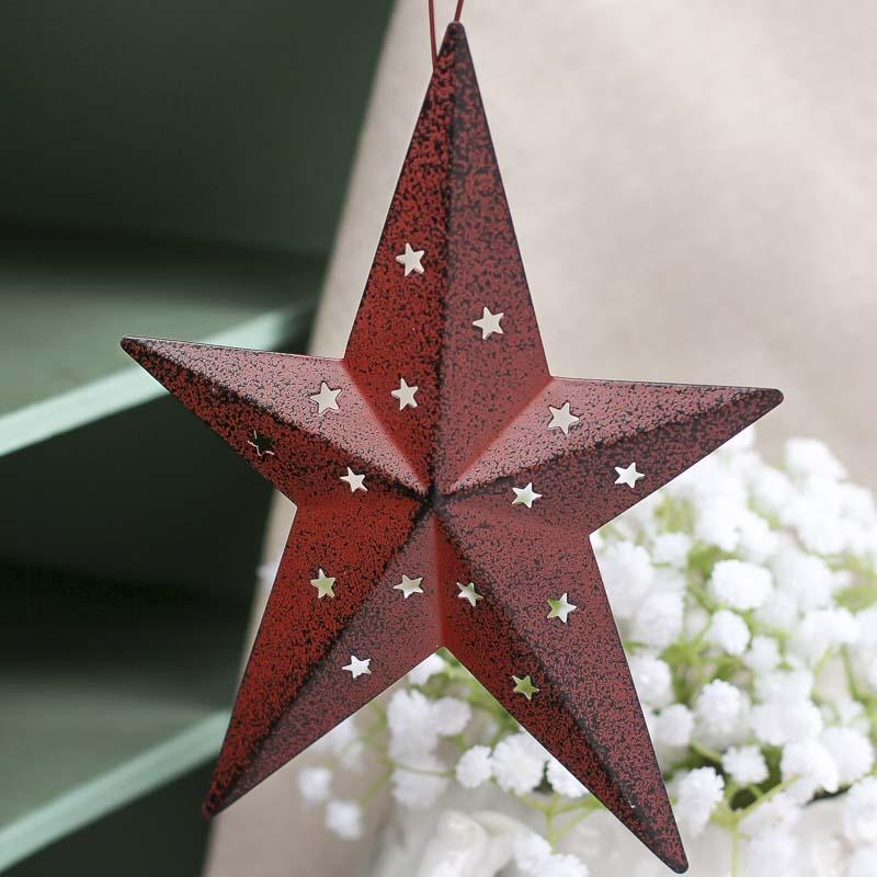 Barn Red Tin Dimensional Barn Star