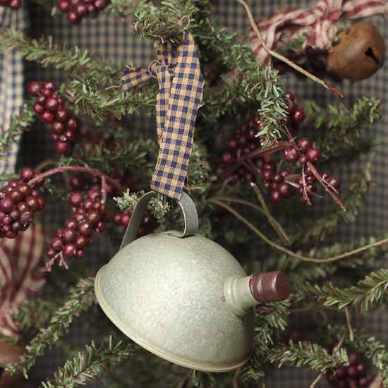 Vintage Tin Christmas Tree Ornaments : Antique gray tin tea kettle ornament christmas and