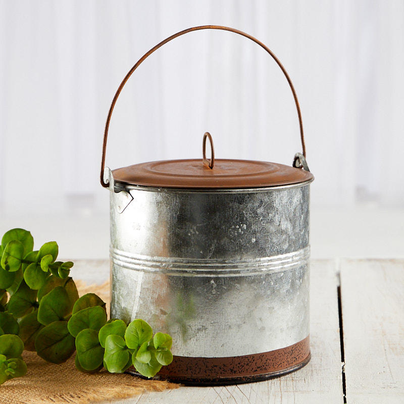 Round galvanized tin with rusty lid baskets buckets for How to decorate a bucket
