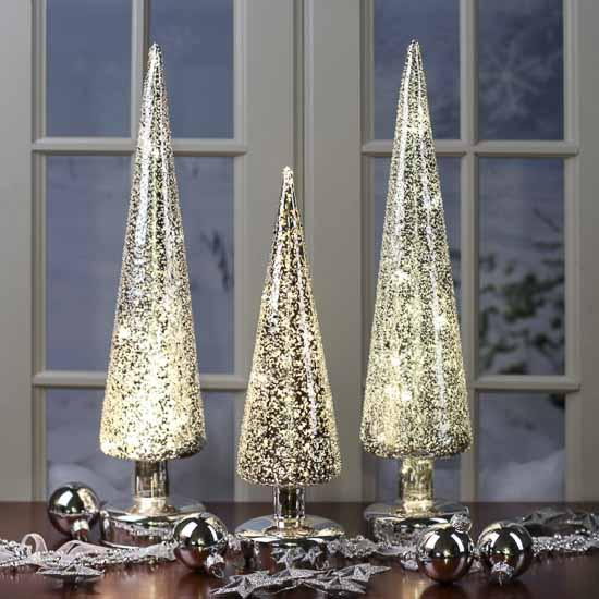 Set of silver northern lights mercury glass christmas