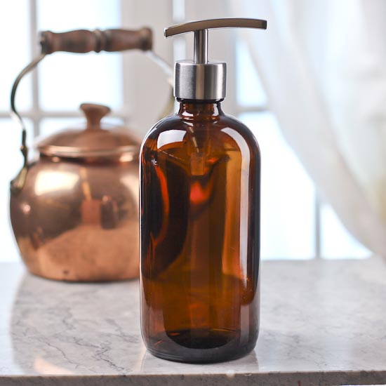 Amber Glass Apothecary Bottle Dispenser Soap Making