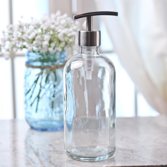 Clear Glass Apothecary Bottle Dispenser Soap And Lotion