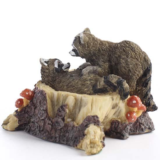 Resin Raccoon Playmates Figurine Fairy Garden Supplies