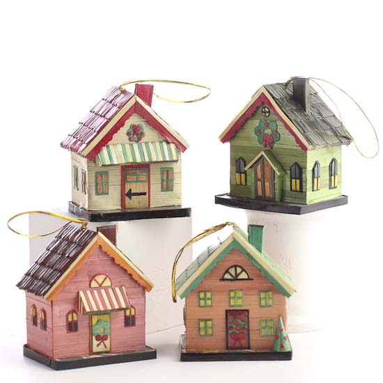 Pin Miniature Holiday Village House Ornaments Christmas ...