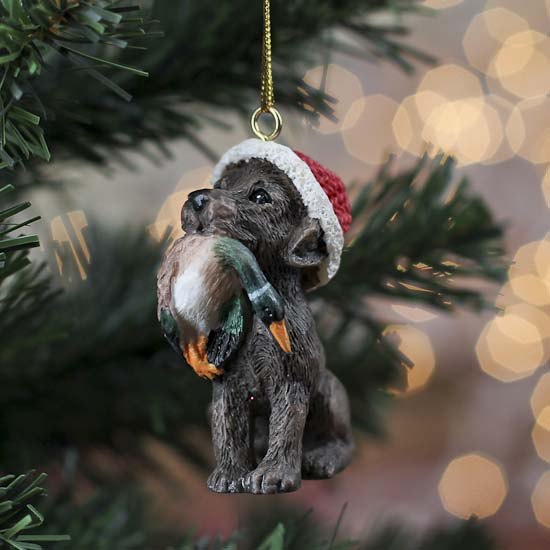 chocolate lab and duck christmas ornament