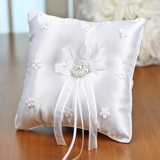 White Satin Square Ring Bearer Pillow