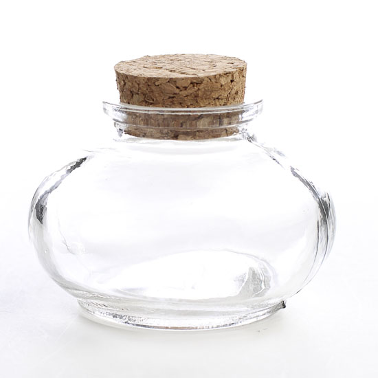Round Clear Glass Apothecary Bottle Decorative