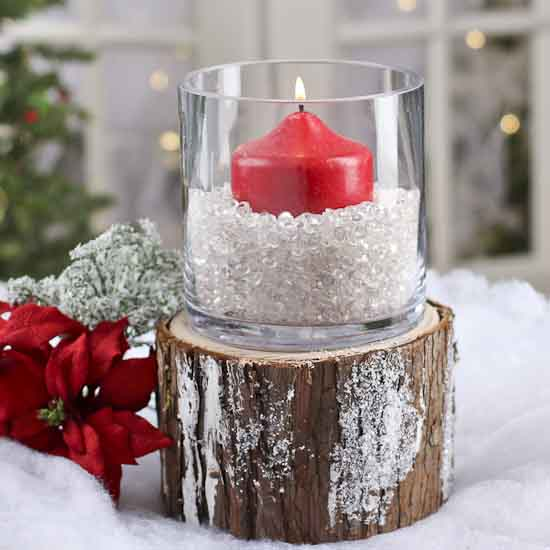 Decorative artificial winter tree stump christmas and